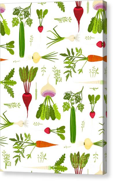 Ingredient Canvas Print - Leafy Vegetables And Greens Seamless by Popmarleo