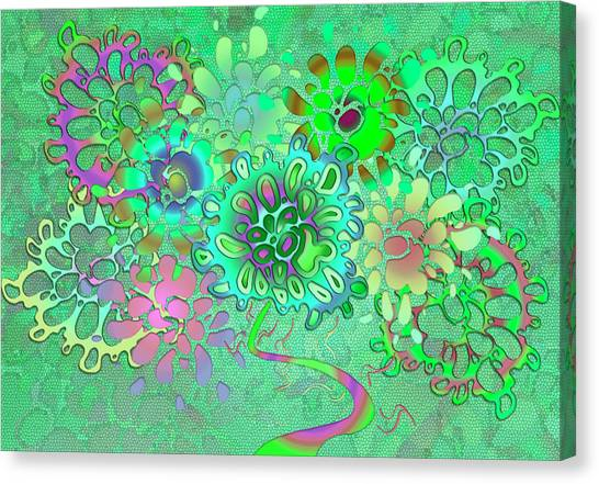Canvas Print featuring the digital art Leaves Remix One by Vitaly Mishurovsky