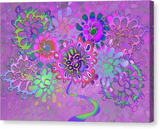 Canvas Print featuring the digital art Leaves Remix Three by Vitaly Mishurovsky
