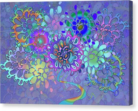 Canvas Print featuring the digital art Leaves Remix Two by Vitaly Mishurovsky