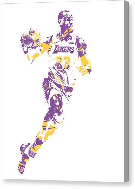 Lebron James Canvas Print - Lebron James Los Angeles Lakers Pixel Art 2 by Joe Hamilton