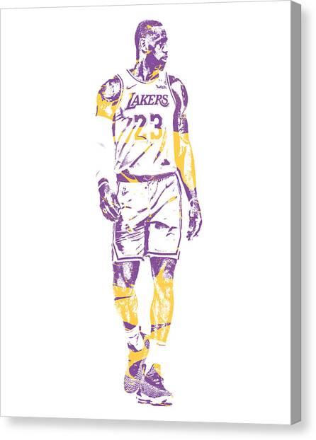 Lebron James Canvas Print - Lebron James Los Angeles Lakers Pixel Art 4 by Joe Hamilton