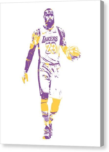 Lebron James Canvas Print - Lebron James Los Angeles Lakers Pixel Art 5 by Joe Hamilton