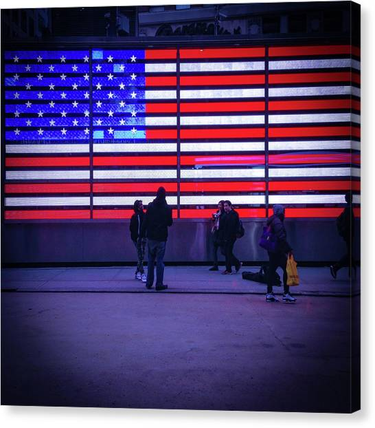 Led American Flag Canvas Print by Michael Gerbino