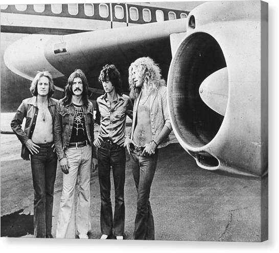 Jimmy Page Canvas Print - Led Zeppelin With Jet by Hulton Archive