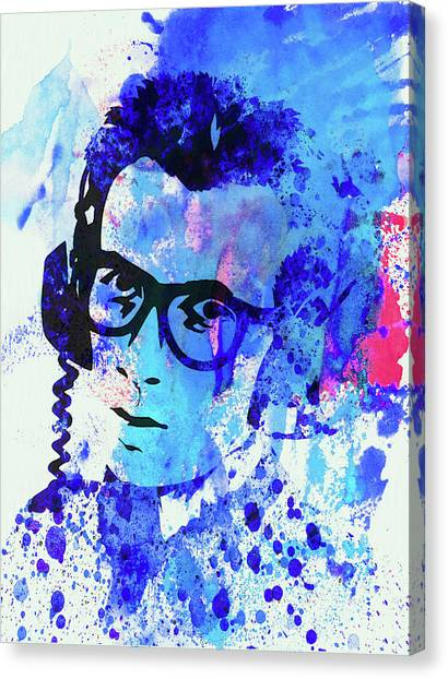 Elvis Canvas Print - Legendary Elvis Costello Watercolor by Naxart Studio
