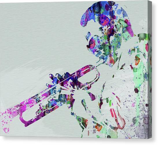 Legend Canvas Print - Legendary Miles Davis Watercolor by Naxart Studio