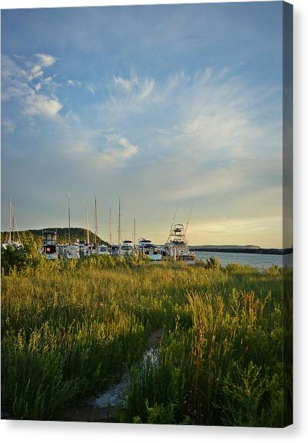 Leland Harbor At Sunset Canvas Print