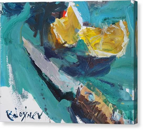 Lemon And Knife Still Life Painting Canvas Print