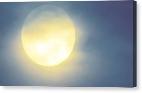 Canvas Print featuring the photograph Leo Blue Super Moon by Judy Kennedy