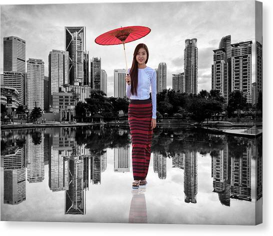 Canvas Print featuring the digital art Let The City Be Your Stage by ISAW Company
