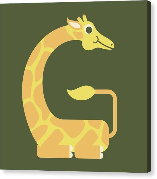 Letter G - Animal Alphabet - Giraffe Monogram Canvas Print