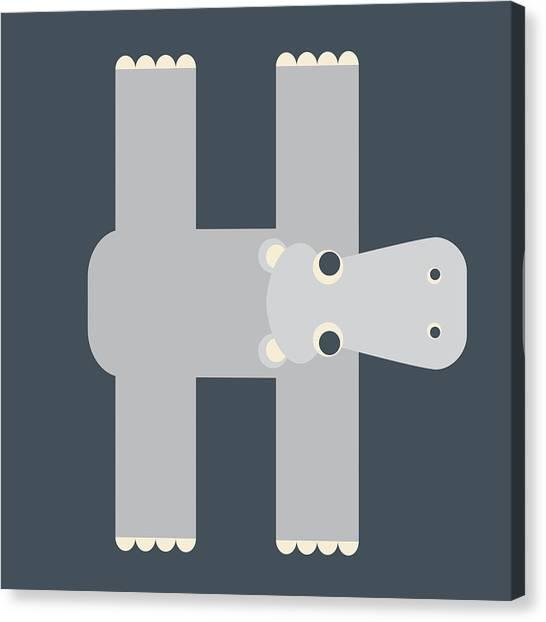 Animal Alphabet - Letter H - Hippo Monogram Canvas Print