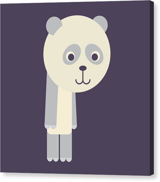 Letter P - Animal Alphabet - Panda Monogram Canvas Print