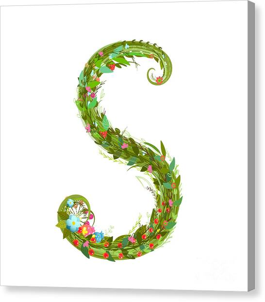 Style Canvas Print - Letter S Floral Latin Decorative by Popmarleo