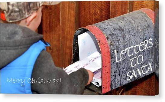 Canvas Print featuring the photograph Letters To Santa With Greeting by Jerry Sodorff