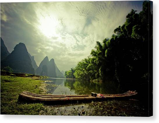 Li River Raft Canvas Print