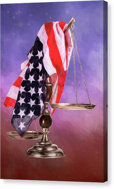 Stars And Stripes Canvas Print - Liberty And Justice For All by Tom Mc Nemar