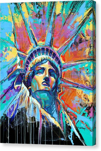 New York Canvas Print - Liberty In Color by Damon Gray