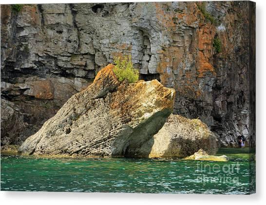 Limestone Caves Canvas Print - Lichen Coats Limestone Of The Bruce Peninsula In Georgian Bay by Louise Heusinkveld