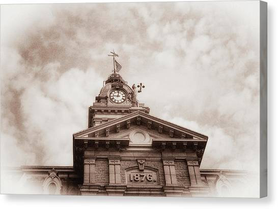 Stars And Stripes Canvas Print - Licking County Courthouse by Tom Mc Nemar