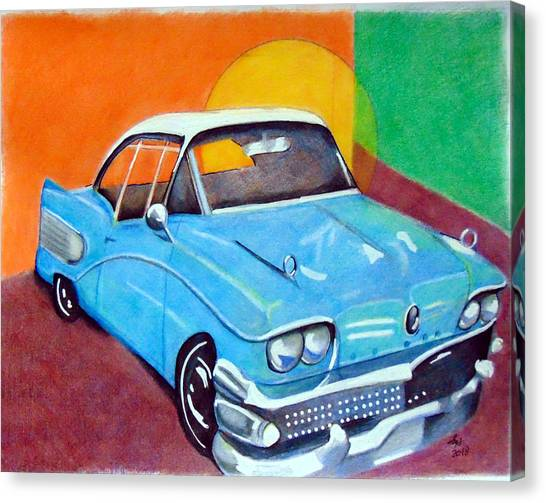 Light Blue 1950s Car  Canvas Print