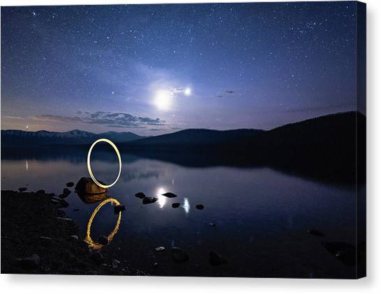 Light Painting Lake Mcdonald Canvas Print