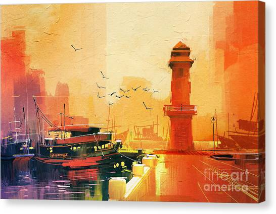 Sea Life Canvas Print - Lighthouse And Fishing Boat At by Tithi Luadthong