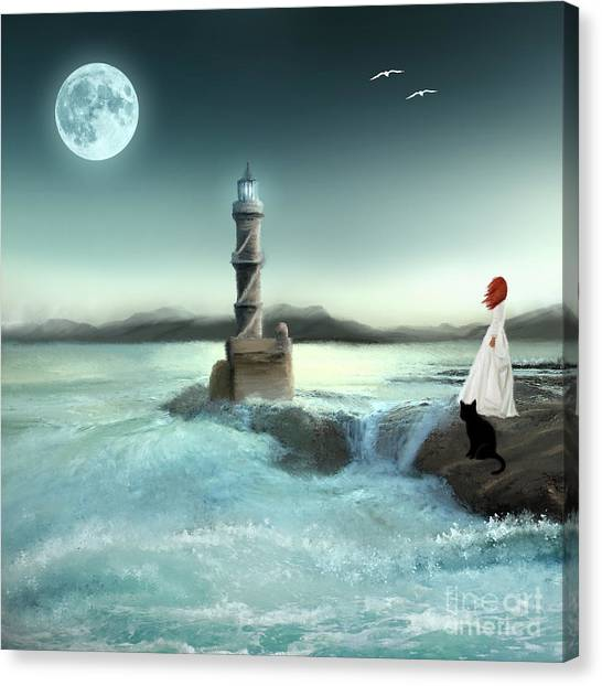 Lighthouse At Full Moon Canvas Print