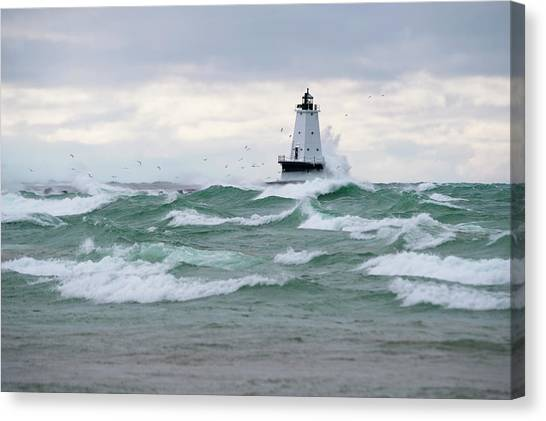 Lighthouse During Stormy Weather Canvas Print