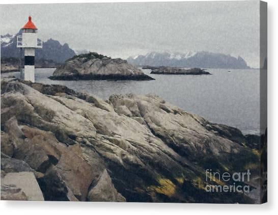 Lighthouse On Rocks Near The Atlantic Coast, Digital Art Oil Pai Canvas Print