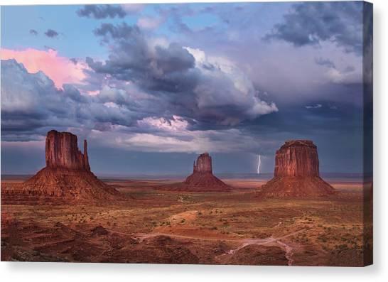 Lightning Across The Valley    Canvas Print
