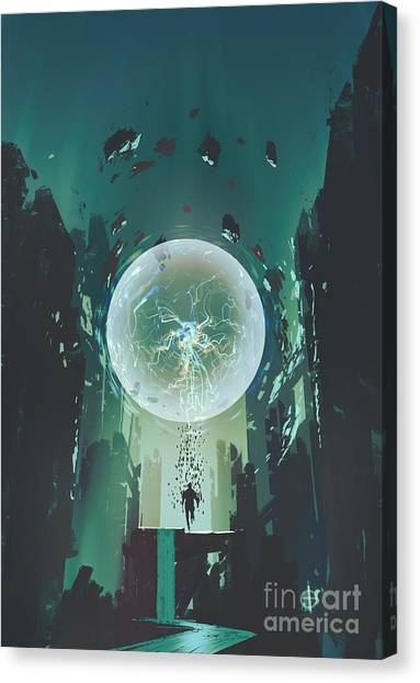Acrylic Canvas Print - Lightning Ball And Geometry In The Form by Tithi Luadthong