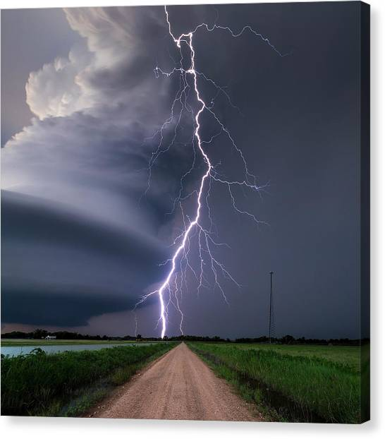 Lightning Bolt From A Super-cell Canvas Print by John Finney Photography
