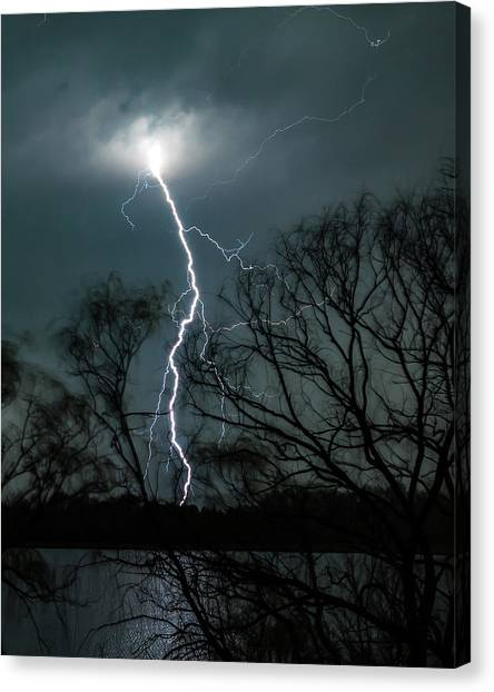 Lightning Bolt Over Little Sugarloaf Canvas Print