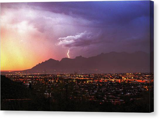 Lightning Bolt Over The Santa Catalina Mountains And Tucson, Arizona Canvas Print