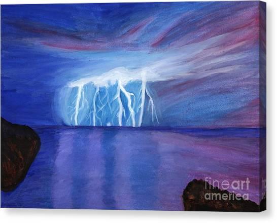 Lightning On The Sea At Night Canvas Print