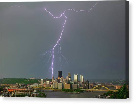 Roberto Clemente Canvas Print - lightning storm in Pittsburgh by Emmanuel Panagiotakis