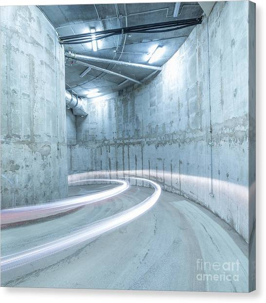 Indoors Canvas Print - Lights Of The Moving Car In The by Serjio74