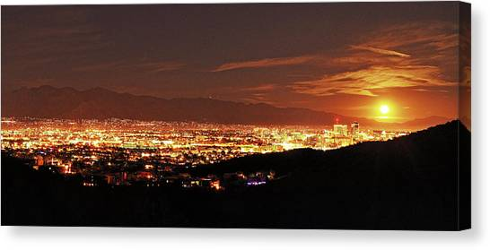 Canvas Print featuring the photograph Lights Of Tucson And Moonrise by Chance Kafka