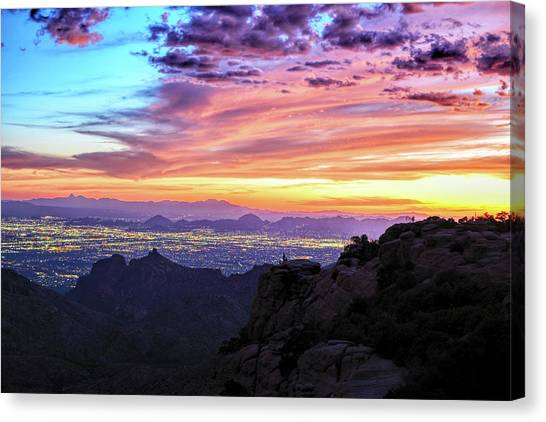 Lights Of Tucson At Sunset Canvas Print