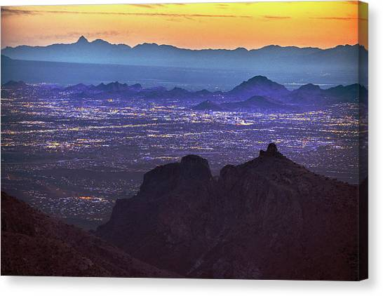 Canvas Print featuring the photograph Lights Of Tucson At Twilight  by Chance Kafka