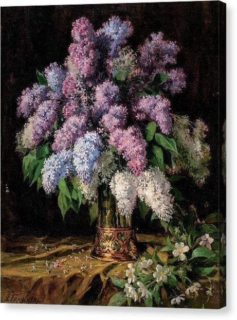 Lilac Bush Canvas Print - Lilacs by Jean Charles Franchere