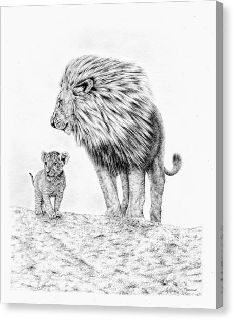 Lion And Cub Canvas Print