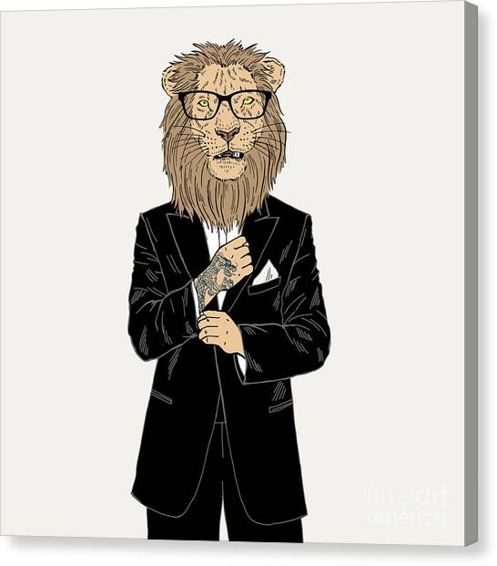 Lion Dressed Up In Tuxedo With Tattoo Canvas Print by Olga angelloz
