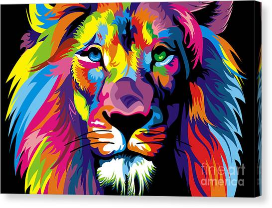 Canvas Print - Lion Fool Colors  by Mark Ashkenazi