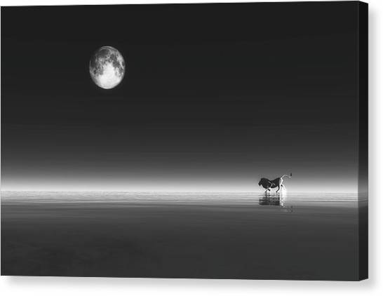 Canvas Print featuring the digital art Lion by Jan Keteleer