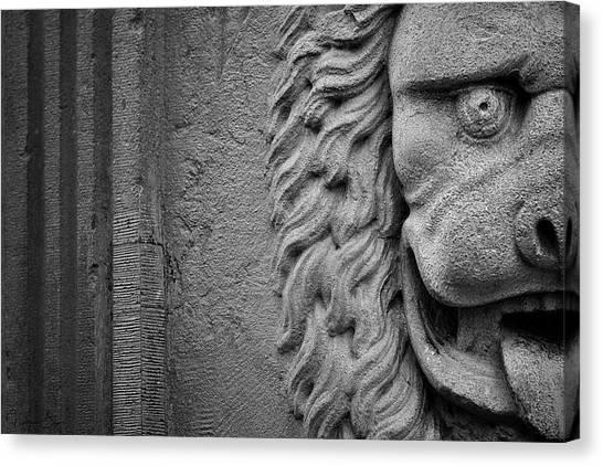 Lion Statue Portrait Canvas Print