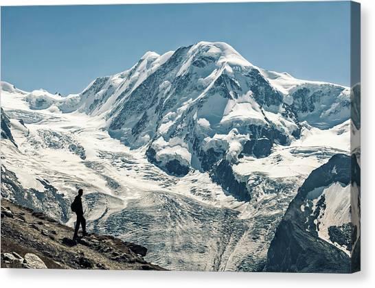 Liskamm Lyskamm 4527m Mountain Peak In Canvas Print by Alpamayophoto