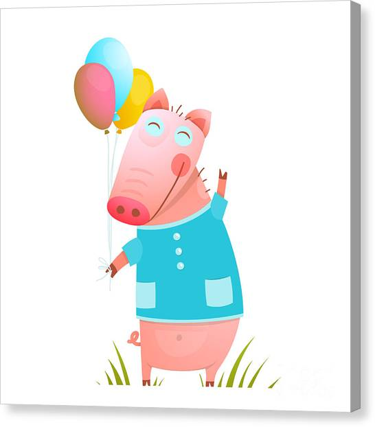 Humorous Canvas Print - Little Adorable Baby Pig With Balloons by Popmarleo